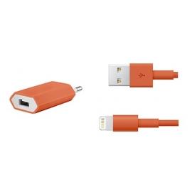 Cargador USB HT 5V 1A Orange para Casa + Cable Apple Lightning