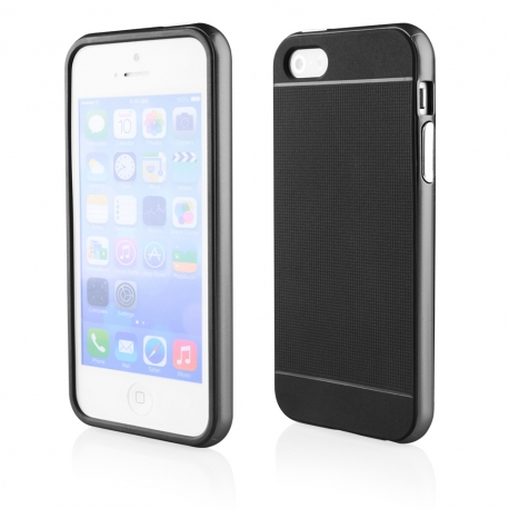 Funda Movil Back Cover HT Bumper Hybrid Black/Black para iPhone 5/5S