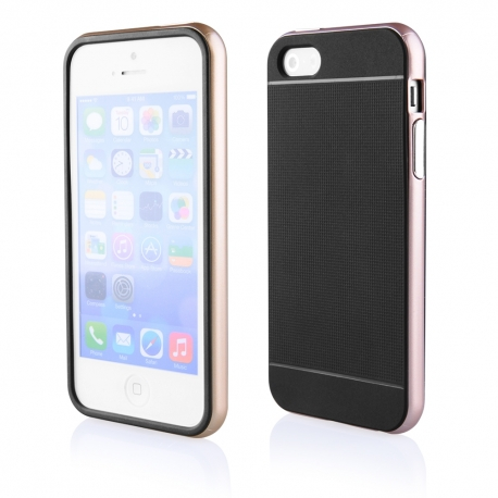 Funda Movil Back Cover HT Bumper Hybrid Black/Gold para iPhone 5/5S