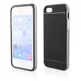 Funda Movil Back Cover HT Bumper Hybrid Black/Silver para iPhone 5/5S