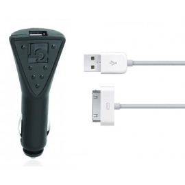 Cargador USB HT 5V 1.6A Black para Coche + Cable Apple 30 Pins