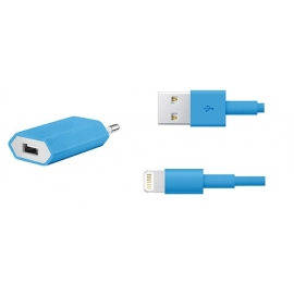 Cargador USB HT 5V 1A Blue para Casa + Cable Apple Lightning