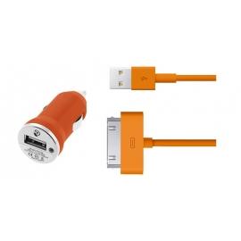 Cargador USB HT 5V 1A Orange para Coche + Cable Apple 30 PIN