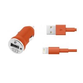 Cargador USB HT 5V 1A Orange para Coche + Cable Apple Lightning