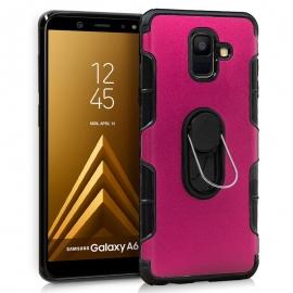 Funda Movil Back Cover HT Aluminio Pink + Anilla para Samsung A6 A600